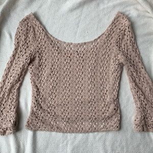 Free People Nude Crocheted Cropped Top Size S